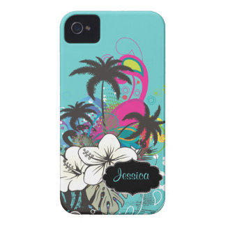 PixDezines Retro Aloha/DIY background color iPhone 4 Case-Mate Cases
