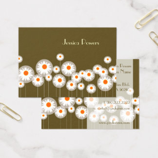 PixDezines retro daisies/diy background color Business Card