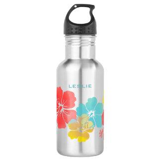 PixDezines retro hibiscus/digital watercolor 532 Ml Water Bottle