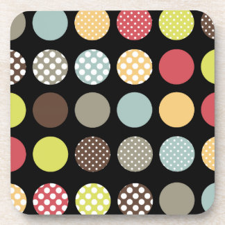 PixDezines Retro Polka Dots/DIY background color Beverage Coaster