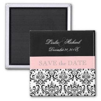 PixDezines Rossi Damask, Black+White Square Magnet