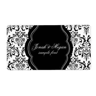 PixDezines Rossi Damask/DIY/black+white Shipping Label