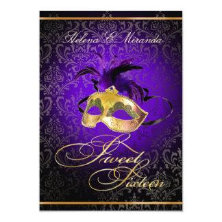"""PixDezines Rossi Sweet 16 Masquerade/DIY color!! 5"""" X 7"""" Invitation Card"""