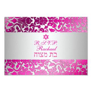 PixDezines rsvp flora damask bat mitzvah Card