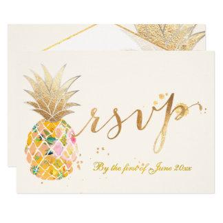 PixDezines rsvp Pineapples/Gold Brush Strokes Card