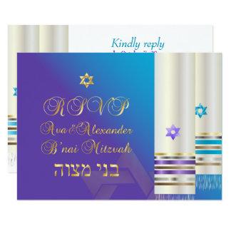 PixDezines RSVP Purple/Aqua Tallits/B'nai Mitzvah Card