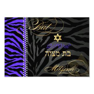 PixDezines rsvp Purple Zebra Stripes, Bat Mitzvah Card
