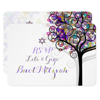 PixDezines RSVP TREE OF LIFE Bnot MITZVAH/PURPLE Card