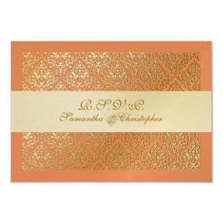 PixDezines rsvp vavin damask/diy tangerine color Card