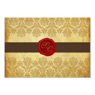 PixDezines rsvp Vintage+Pique Lace Damask+Wax Seal Card