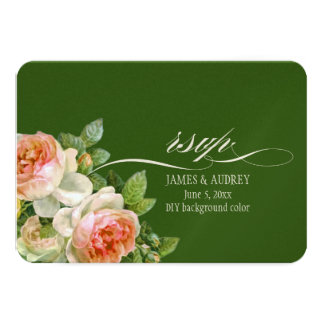 "PixDezines RSVP VINTAGE ROSES+SWIRLS 3.5"" X 5"" Invitation Card"