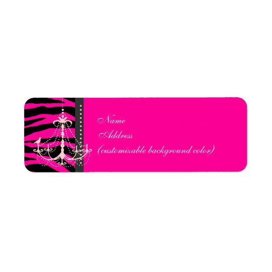 PixDezines Safari, hot pink zebra + chandelier Return Address Label