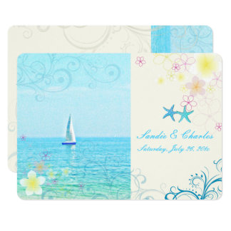 "PixDezines sail-away+swirls+starfish 5"" X 7"" Invitation Card"
