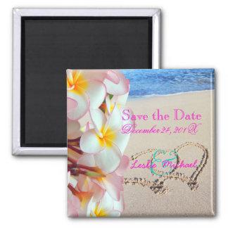 PixDezines Save Date, Beach+Pink Plumeria+Hearts Square Magnet