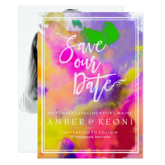 PixDezines Save Date/Color Run/Rainbow Card