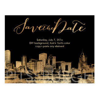 PixDezines/Save Date/Faux Gold/Pittsburgh Skyline Postcard