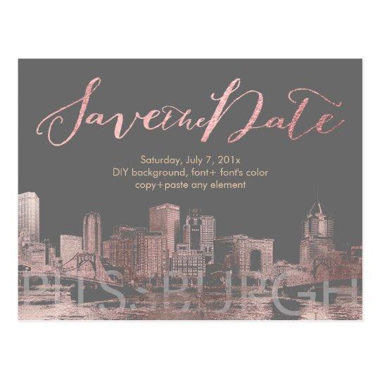 PixDezines/Save Date/Pink Gold/Pittsburgh Skyline Postcard