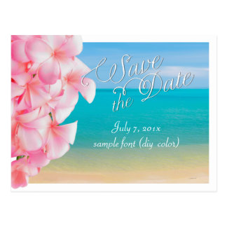PixDezines/save the date/pink plumeria+beach Postcard