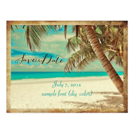 PixDezines/save the date/vintage hawaii Post Card
