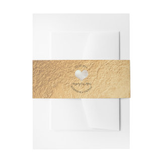 PixDezines Silver Heart Faux Gold Foil Invitation Belly Band