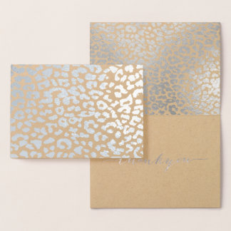 PixDezines Silver Leopard Spots Thank You Foil Card