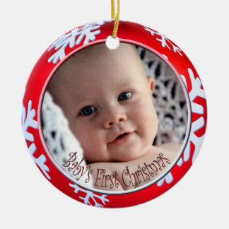 PixDezines Snowflakes Baby s First Christmas Ornament