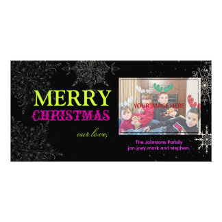PixDezines Snowflakes, christmas, DIY colors.. Personalized Photo Card