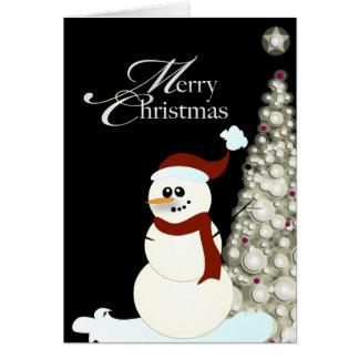 PixDezines Snowman/Glowing Christmas Tree Card