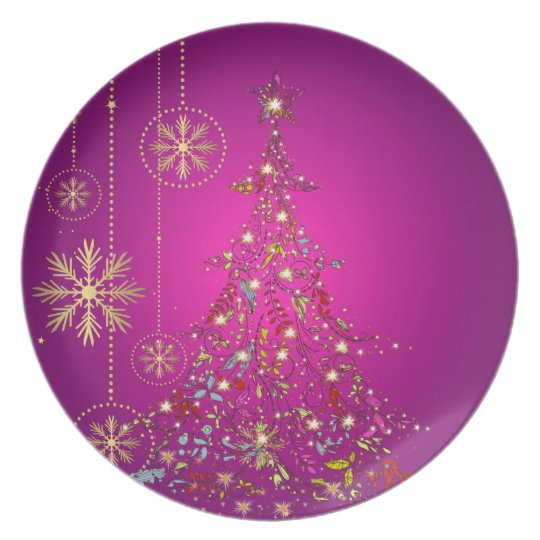 PixDezines Sparkling+Whimsy Christmas Trees/magent Plate