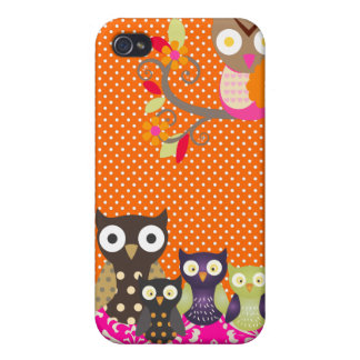 PixDezines spotted owls/DIY background color iPhone 4 Case