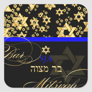 PixDezines Star of David/Bar Mitzvah Square Sticker