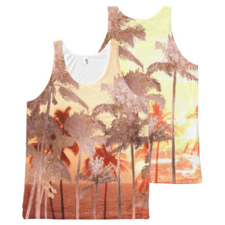 PixDezines sunset at mauna kea beach/Rose Gold All-Over-Print Tank Top
