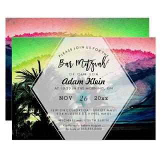 PixDezines Surfs Up Beach Bar Mitzvah Card