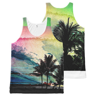 PixDezines Surfs Up Hawaiian Beach/Pink/Green All-Over-Print Tank Top
