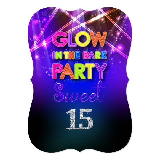 PixDezines Sweet 15/Glow Party Card