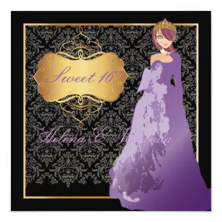 PixDezines Sweet 16 Damask/Quinceañera/Quince años Card