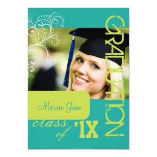 "PixDezines Swirls, 2012 Graduation, DIY Color 5"" X 7"" Invitation Card"