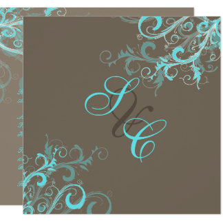 PixDezines Swirls, Aqua + Cocoa Card