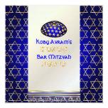 "PixDezines talit+kippah/Stylish Bar Mitzvah/gold 5.25"" Square Invitation Card"