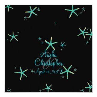"PixDezines teal+gold starfish/diy background color 5.25"" Square Invitation Card"