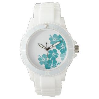 PixDezines teal hibiscus/diy background Wristwatch