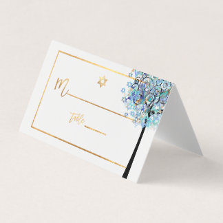 PixDezines Tree of LIfe+Aqua Blue Place Card
