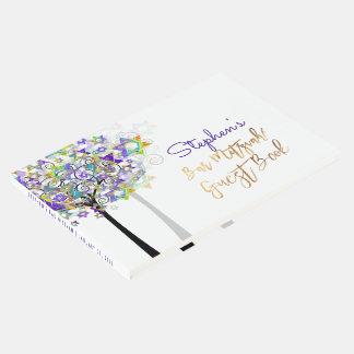 PixDezines Tree of Life Bar Mitzvah/Purple Guest Book