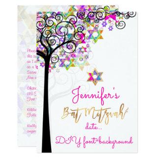 PixDezines TREE OF LIFE BAT MITZVAH/NEON PINK Card