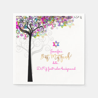 PixDezines TREE OF LIFE/BAT MITZVAH/NEON PINK Disposable Napkins