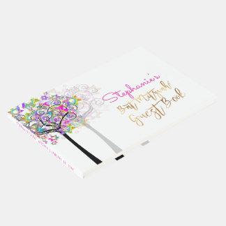 PixDezines Tree of Life Bat Mitzvah/Neon Pink Guest Book