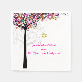 PixDezines TREE OF LIFE/BAT MITZVAH/PINK Disposable Napkin