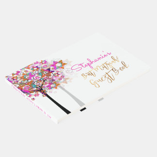 PixDezines Tree of Life Bat Mitzvah/Pink Guest Book