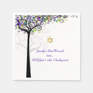 PixDezines TREE OF LIFE/BAT MITZVAH/PURPLE Disposable Napkins