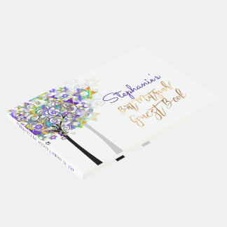 PixDezines Tree of Life Bat Mitzvah/Purple Guest Book